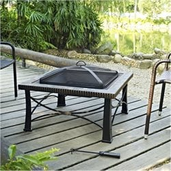 Bowery Hill Square Slate Firepit in Black