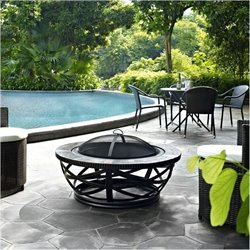 Bowery Hill Round Slate Firepit in Black