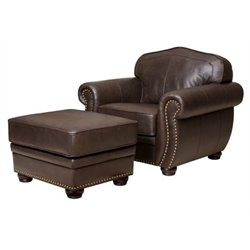 Bowery Hill Leather Club Chair with Ottoman in Brown