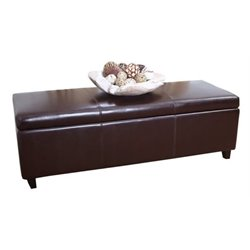 Bowery Hill Leather Storage Bench Ottoman in Dark Truffle