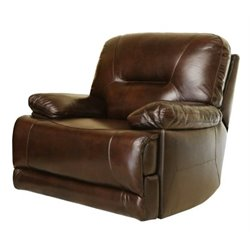 Bowery Hill Power Leather Recliner in Brown