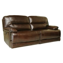 Bowery Hill Leather Reclining Sofa in Brown