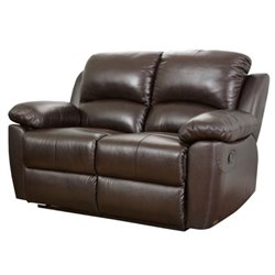 Bowery Hill Leather Reclining Loveseat in Espresso