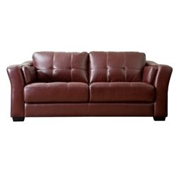 Bowery Hill Leather Sofa in Burgundy