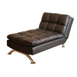 Bowery Hill Leather Chaise Lounge in Black