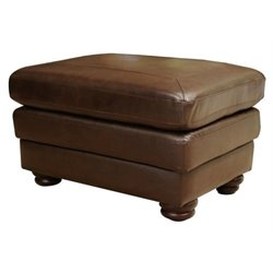 Bowery Hill Leather Ottoman in Brown