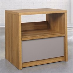 Bowery Hill Nightstand in Pale Oak with Moccasin
