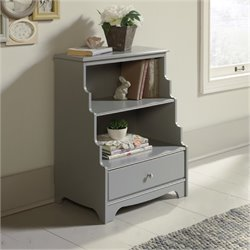 Bowery Hill 2 Shelf Accent Bookcase in Gray
