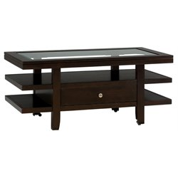 Bowery Hill Glass Top Coffee Table With Casters in Wenge