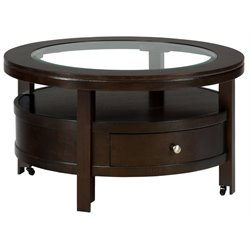 Bowery Hill Round Wood Coffee Table in Wenge