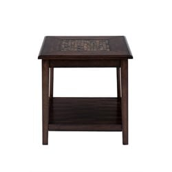 Bowery Hill End Table with Mosaic Tile Inlay in Brown