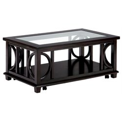 Bowery Hill Coffee Table with Glass Insert in Brown