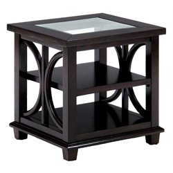 Bowery Hill End Table with Tempered Glass Insert in Brown