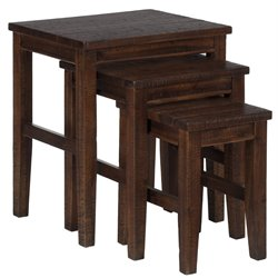 Bowery Hill 3 Piece Nesting Table Set in Brown