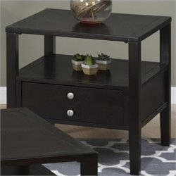 Bowery Hill End Table with Drawer and Shelf in Espresso