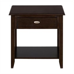 Bowery Hill End Table with Drawer and Shelf in Merlot