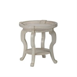 Bowery Hill Round End Table in Antique Cream