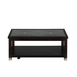 Bowery Hill Glass Top Coffee Table in Oak