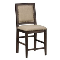 Bowery Hill Upholstered Bar Stool in Brown (Set of 2)