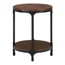 Bowery Hill Wood Round Accent Table in Pine