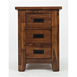 Bowery Hill End Table with 3 Drawers in Light Brown