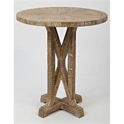 MER-1374 Bowery Hill Round End Table in Bisque/Chestnut