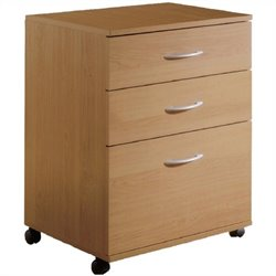 Pemberly Row 3 Drawer Lateral Mobile Wood Filing Cabinet in Natural Maple
