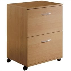 Pemberly Row 2 Drawer Mobile Vertical Wood Filing Cabinet in Natural Maple