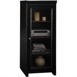 Pemberly Row Audio Cabinet with 2 Adjustable Shelves in Antique Black