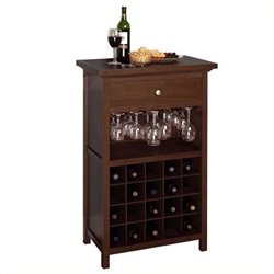 Pemberly Row 20 Bottle Wine Cabinet in Antique Walnut