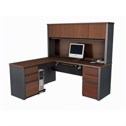 Pemberly Row L-Shape Wood Computer Desk in Bordeaux Graphite