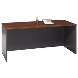 Pemberly Row 72W Corner Credenza Computer Desk in Hansen Cherry