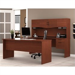 Pemberly Row U-Shape Wood Home Office Set in Bordeaux