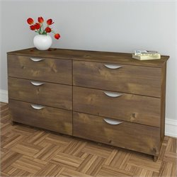 Pemberly Row 6 Drawer Double Dresser in Truffle Finish