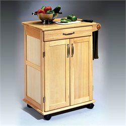 Pemberly Row Paneled Door Kitchen Cart with Towel Rack in Natural