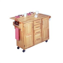 Pemberly Row Kitchen Cart with Breakfast Bar in Natural
