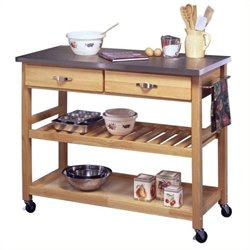 MER-1187 Solid Wood Top Kitchen Cart--95