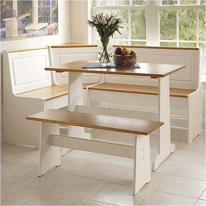 Kitchen Nook Table Set: Pemberly Row Breakfast Corner Nook Table Set In White