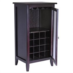 Pemberly Row Espresso Wine Cabinet with Glass Door