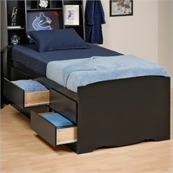 Pemberly Row Black Tall Platform Storage Bed with 12 Drawers