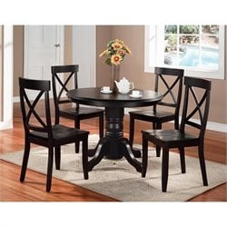Pemberly Row 5 Piece Black Pedestal Dining Table Set