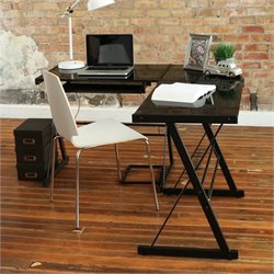 Pemberly Row Corner L Shaped Glass Top Computer Desk in Black