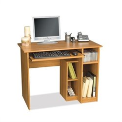 Pemberly Row Small Wood Computer Desk in Cappuccino Cherry