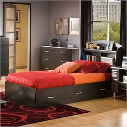 Pemberly Row Kids Twin Mates Bed Frame Only in Black Onyx Charcoal