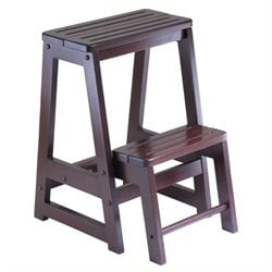 Pemberly Row Double Step Stool in Antique Walnut