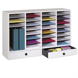 Pemberly Row Grey 32 Compartment File Organizer with Drawer