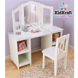Pemberly Row Deluxe Wood Makeup Vanity Table with Chair and Mirror