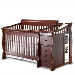 Pemberly Row 4-in-1 Convertible Crib and Changer Set in Cherry