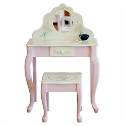 Pemberly Row Fantasy Fields Hand Carved Classic Vanity Table and Stool Set