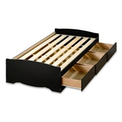 Pemberly Row Black Platform Storage Bed with 6 Drawers